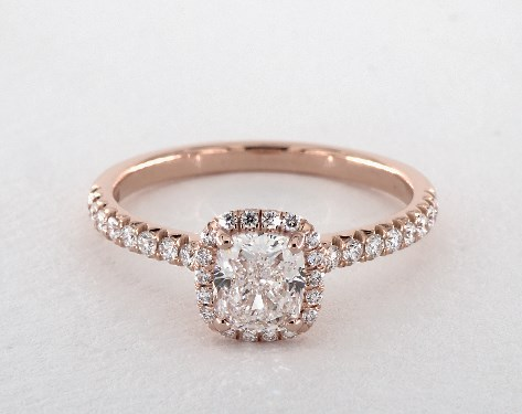 1 00 Carat Cushion Cut Halo Engagement Ring In 14k Rose Gold