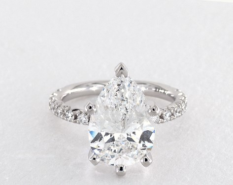 f887bc2e5 4.07 Carat Pear Shaped Pave Engagement Ring in 14K White Gold - 1817418