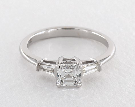e226b57bc1458 0.64 Carat Square Emerald Cut Side stones Engagement Ring in 18K White Gold
