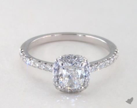 a7b3547193596 0.84 Carat Cushion Cut Halo Engagement Ring in 18K White Gold