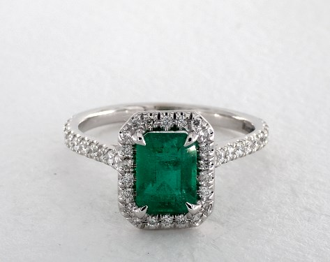 1 27 Carat Green Emerald Emerald Cut Halo Engagement Ring