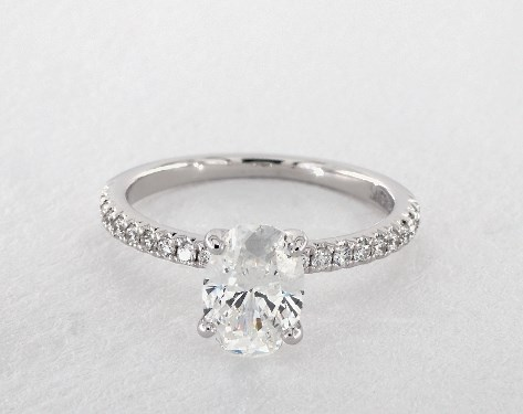 ac43955f6da8 0.91 Carat Oval Cut Pave Engagement Ring in 14K White Gold - 1766589