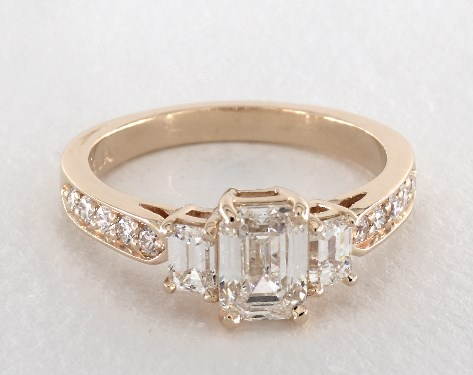Yellow Gold Emerald Cut Enement Rings | 1 01 Carat Emerald Cut Three Stone Engagement Ring In 14k Yellow