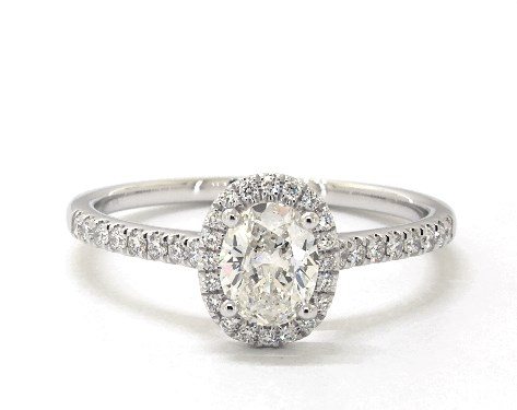 0.75 Carat Oval Cut Halo Engagement Ring in 14k White Gold