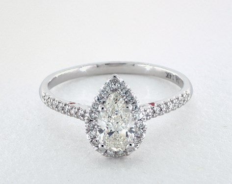 5895f913e 1.01 Carat Pear Shaped Halo Engagement Ring in 14K White Gold - 1818120