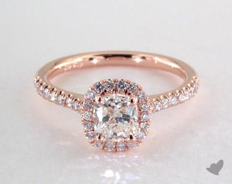 0 70 Carat Cushion Cut Halo Engagement Ring In 14k Rose Gold