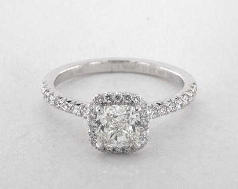 0 94 Carat Cushion Cut Halo Engagement Ring In 14k White Gold