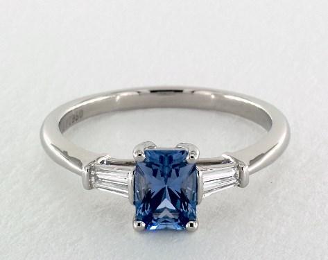 1 05 Carat Blue Sapphire Emerald Cut Side Stones