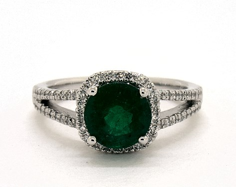 1 55 Carat Green Emerald Round Cut Halo Engagement Ring In