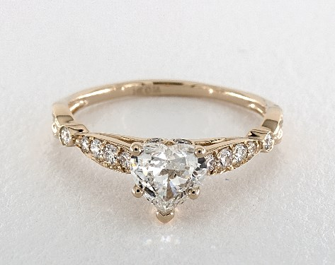 1.25 Carat Heart Shaped Vintage Engagement Ring in 14K Yellow Gold