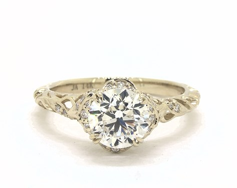 1.50 Ct Round Cut Real 14k Yellow Gold Engagement Wedding Anniversary Band Ring