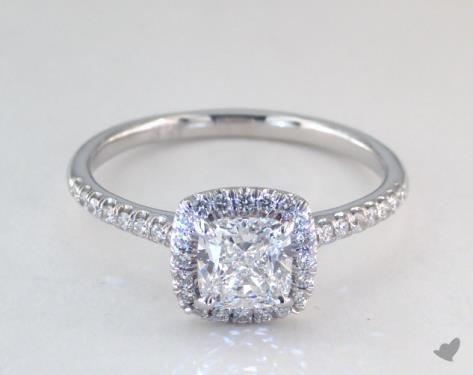 0 95 Carat Cushion Cut Halo Engagement Ring In 14k White Gold