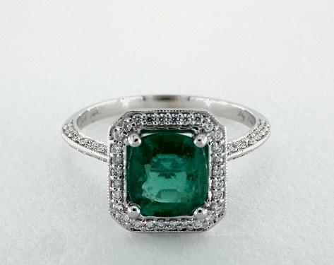 1 88 Carat Cushion Cut Halo Engagement Ring In 14k White Gold