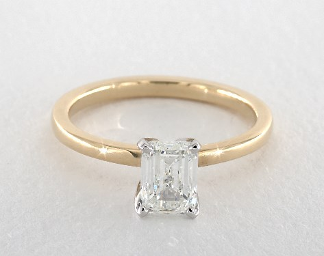 b4307b1d0aa95 1.01 Carat Emerald Cut Solitaire Engagement Ring in 18K Yellow Gold