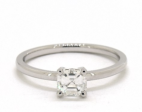 55bc1658c49f6 0.90 Carat Square Emerald Cut Solitaire Engagement Ring in 14K White Gold