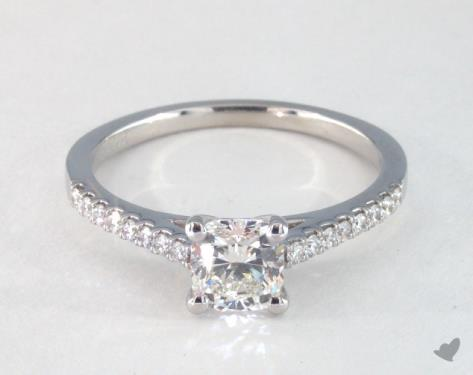 ring for wedding 1 00 carat cushion cut pave engagement ring in 14k white 7097
