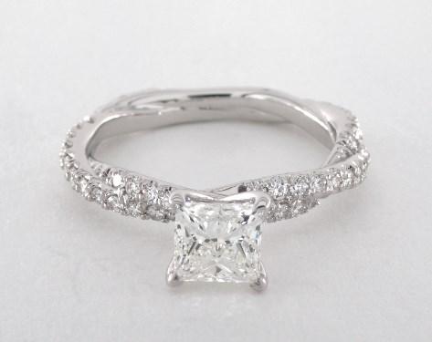 0 92 Carat Princess Cut Pave Engagement Ring In 14k White Gold 1698444