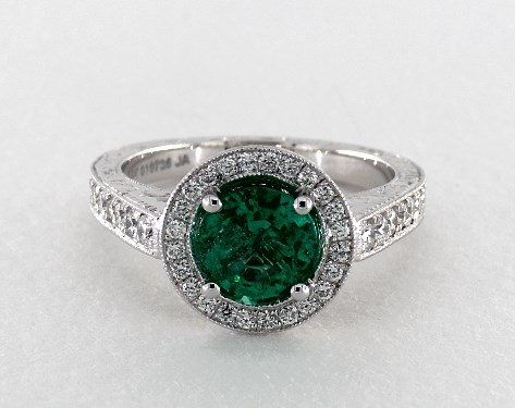 1 18 Carat Green Emerald Round Cut Vintage Engagement Ring
