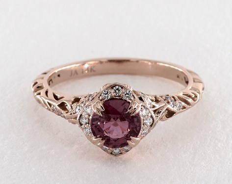 fd1d5a38e31b80 1.31 Carat Pink Sapphire Round Cut Vintage Engagement Ring in 14K ...