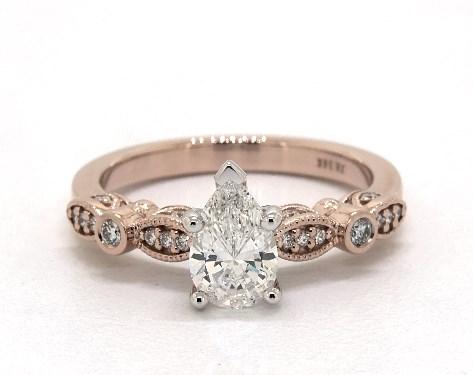 0.85 Carat Pear Shaped Vintage Engagement Ring in 14K Rose