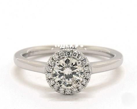 .92ct Round, Halo Solitaire Classic Diamond Engagement Ring in 4mm Platinum