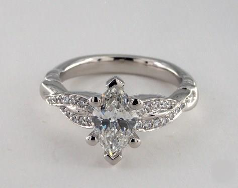 1ct Marquise, Pinched Pave Crossover Modern Diamond Engagement Ring in 2.7mm Platinum