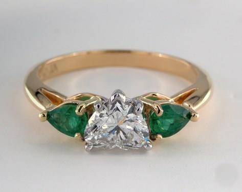 1ct Heart, Side Pear-Green-Emerald Engagement Ring in 2.2mm 18K Yellow Gold by James Allen