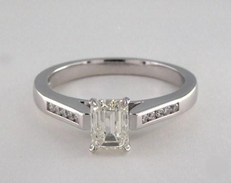 1ct Emerald Cut, Bold Channel-Set Engagement Ring in 2.6mm 14K White Gold