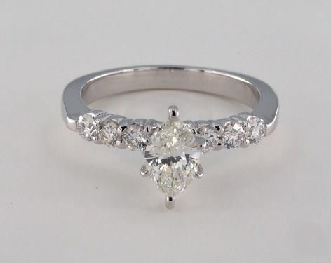 .82ct Marquise, Tapered Side-Stone Diamond Engagement Ring in 4mm Platinum