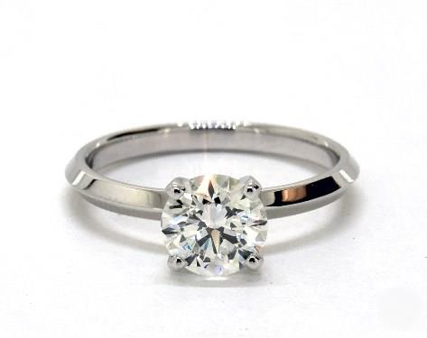 .90ct Round, Knife-Edge Classic 4-Prong Engagement Ring in 2mm 14K White Gold by James Allen