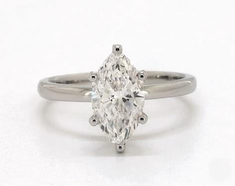1ct Marquise, Solitaire Comfort-Fit 6-Prong Diamond Engagement Ring in 2mm Platinum