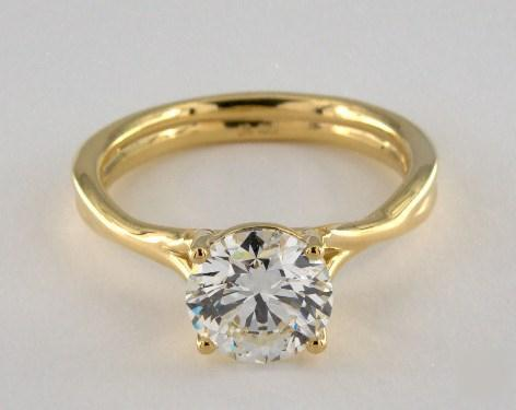 2.05ct Round, Modern Crossover Solitaire Engagement Ring in 3.1mm 18K Yellow Gold