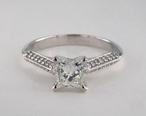 .91ct Princess, Knife Edge Pave Arches, Cathedral Engagement Ring in 2.5mm 14K White Gold