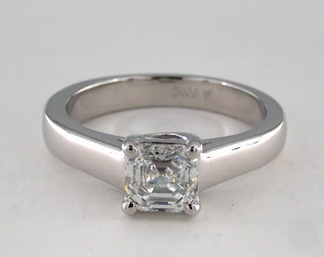 1.01ct Asscher, Flattened-Band Solitaire Diamond Engagement Ring in 3.3mm Platinum by James Allen
