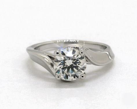 1.20ct Round, Modern Bypass Solitaire Diamond Engagement Ring in 4mm Platinum by James Allen