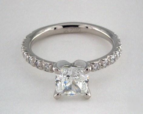 1.31ct Cushion Diamond Engagement Ring (Ideal-Cut G-Color VVS2-Clarity GIA) French Pavé 2.1mm Platinum
