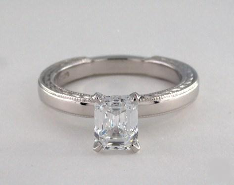 1.20ct Emerald Cut, Etched Milgrain Solitaire Diamond Engagement Ring in 2.4mm Platinum by James Allen