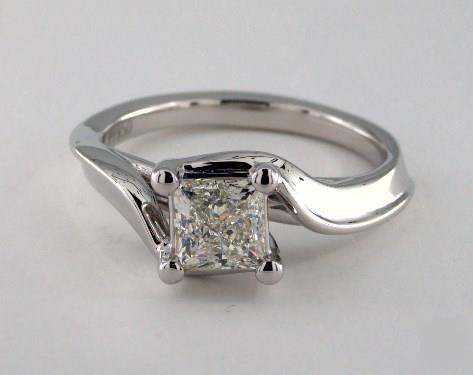 1ct Princess, Modern Bypass Solitaire Diamond Engagement Ring in 4mm Platinum
