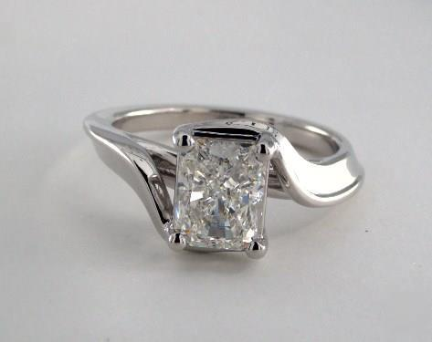 1.71ct Radiant, Modern Bypass Solitaire Diamond Engagement Ring in 4mm Platinum by James Allen