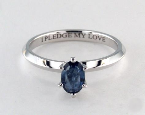 .33ct Oval Blue Sapphire, Knife-Edge Classic 4-Prong Engagement Ring in 14K White Gold 2mm Width Band