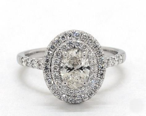 1.01ct Oval, Double Halo Split-Shank Pave Engagement Ring in 4mm 18K White Gold