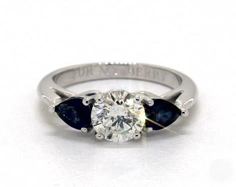 1.23ct Round Side Pear-Sapphire Ring w/ Side Blue Sapphires in 2.2mm 18K White Gold