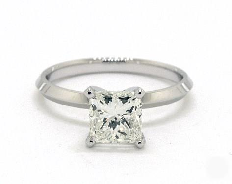 .92ct Princess, Knife-Edge Classic 4-Prong Engagement Ring in 2mm 14K White Gold