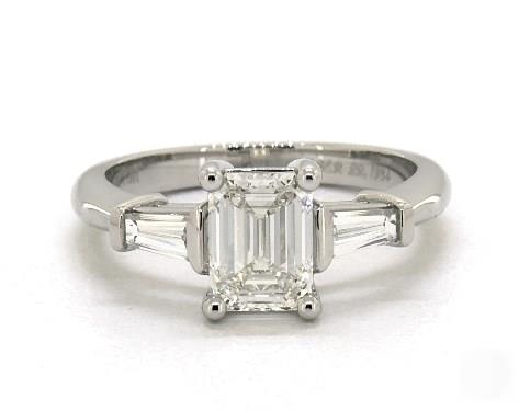 .90ct Emerald Cut, & Baguette Side-Stone Engagement Ring in 4mm 18K White Gold