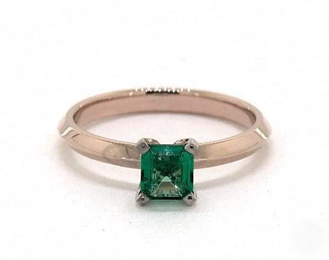 .34ct Emerald Cut Green Emerald, Knife-Edge Classic 4-Prong Engagement Ring in 14K Rose Gold 2mm Width Band