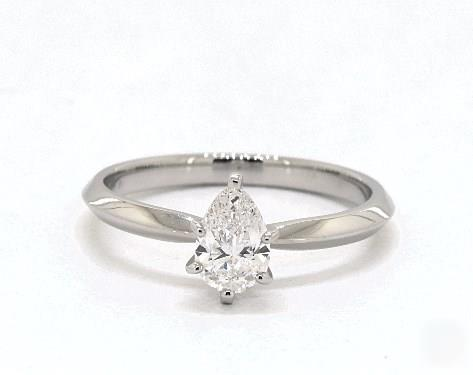 1ct Pear, Knife-Edge Classic 4-Prong Engagement Ring in 2mm 14K White Gold