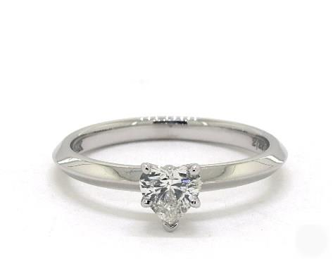 1.01ct Heart, Knife Edge Solitaire, Six-Prong Diamond Engagement Ring in 2mm Platinum