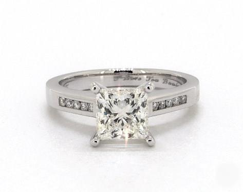 1.5ct Princess Diamond Engagement Ring (Ideal-Cut F-Color SI1-Clarity GIA) Bold Channel-Set 2.6mm 14K White Gold