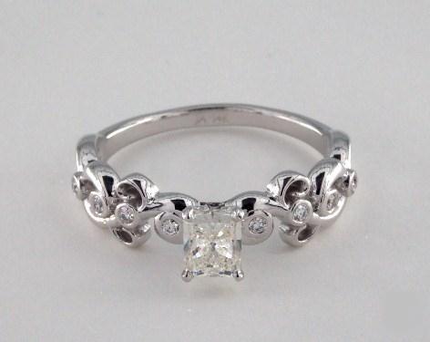 .50ct Radiant, Blossom Side-Stone Bezel Diamond Engagement Ring in 5.5mm 14K White Gold by James Allen