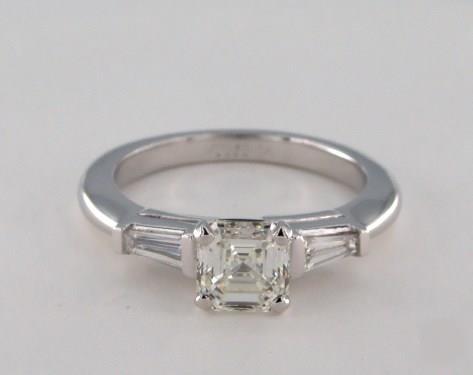 1.01ct Asscher, & Baguette Side-Stone Diamond Engagement Ring in 4mm Platinum by James Allen